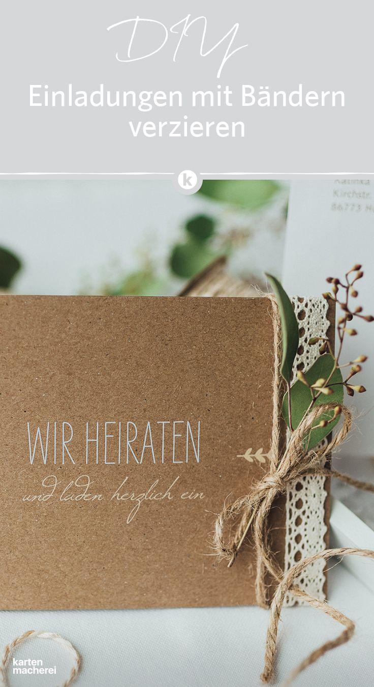 Schmuckt Eure Hochzeitseinladung Mit Extra Bandern Kleinen Zweigen