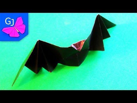Оригами из бумаги Летучая Мышь, хлопающая крыльями - YouTube