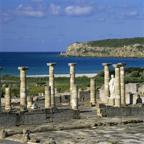 Roman Ruins with Statue of Emperor Trajan, Baelo Claudia, Near Tarifa, Andalucia, Spain, Europe