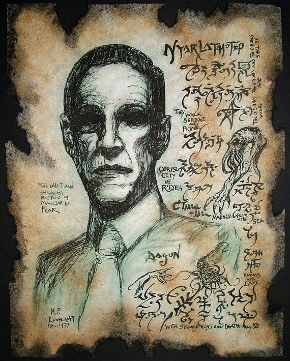 cthulhu HP Lovecraft portrait Necronomicon by zarono on Etsy, $10.00