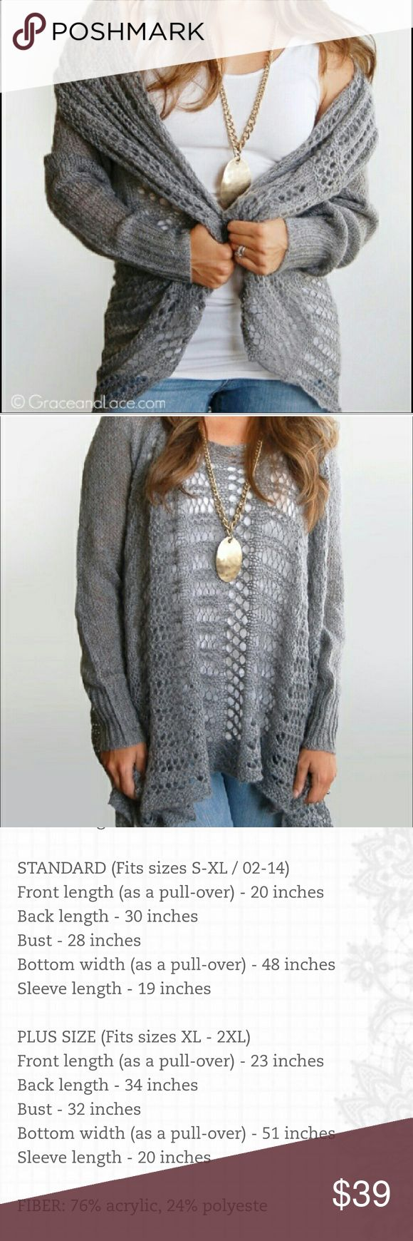 NEW Grace and Lace two fit knit cardigan Grey color. STANDARD size fits Small to XL Grace and Lace Sweaters