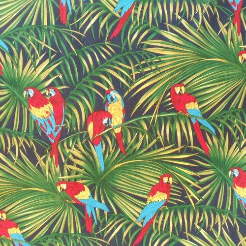 parrots, jungle pattern, colour, palms