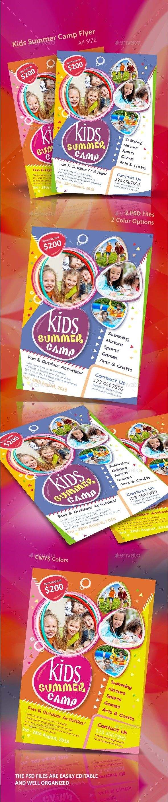 Kids Summer Camp Flyer Template PSD. Download here: http://graphicriver.net/item/kids-summer-camp-flyer/16148297?ref=ksioks
