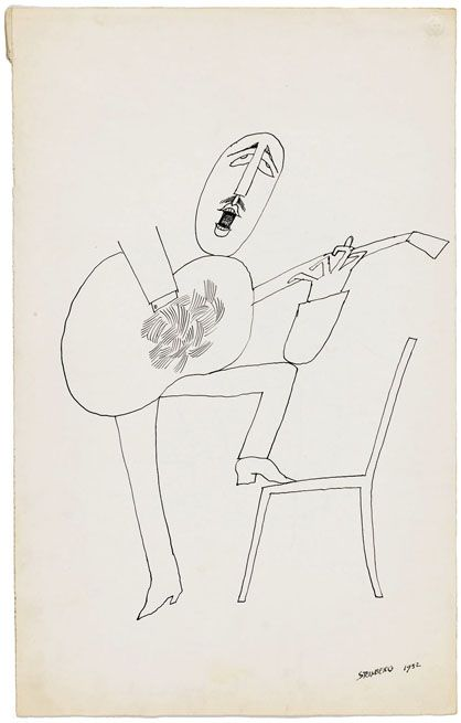 O violonista, 1952   © The Saul Steinberg Foundation, man singing passionately with guitar - Dad like?