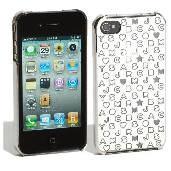 MARC BY MARC JACOBS 'Metallic Stardust' iPhone 4 & 4S Cover ($38) ❤ liked on Polyvore featuring phones, celulares, electronics, accessories, cellphones, cases & covers, small leather goods and women
