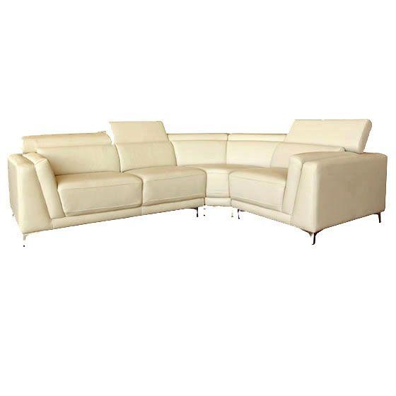 Sectionnel - BLINI2 - Rodi - Laval / Longueuil - Sectionnel ultra-moderne en cuir véritable. Chaise longue à assise ferme pour un confort de longue durée. Appuie-tête ajustable. Piètement en acier chromé.