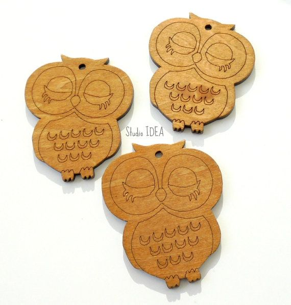Set of 2 large Brown Wooden Owl Embellishments by StudioIdea