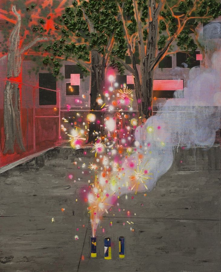 Kim Dorland Fireworks - oil and acrylic on linen over wood panel - 48 x 60 in. - 2014