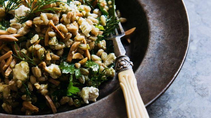Farro, Persian feta and almond salad