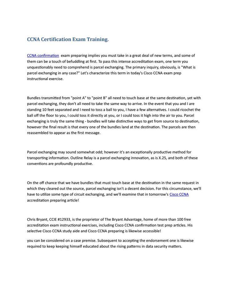 Ccna certification exam training