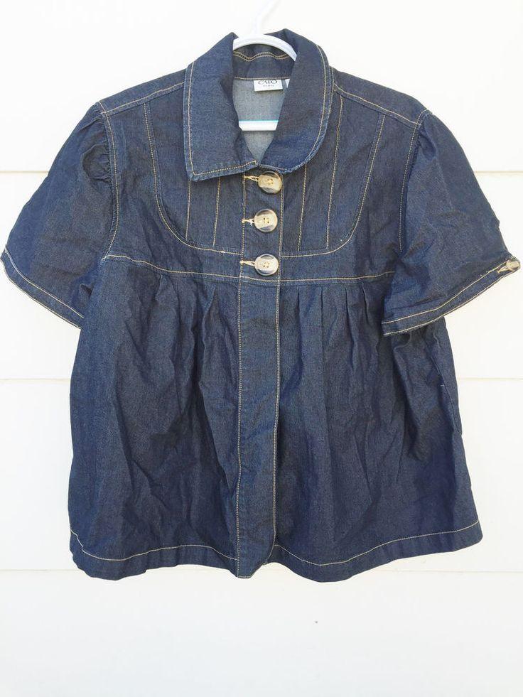 CATO WOMAN Denim Dark Blue Top Blouse Jacket 3 Big Front Buttons Sz 18/20W #Cato #Blazer