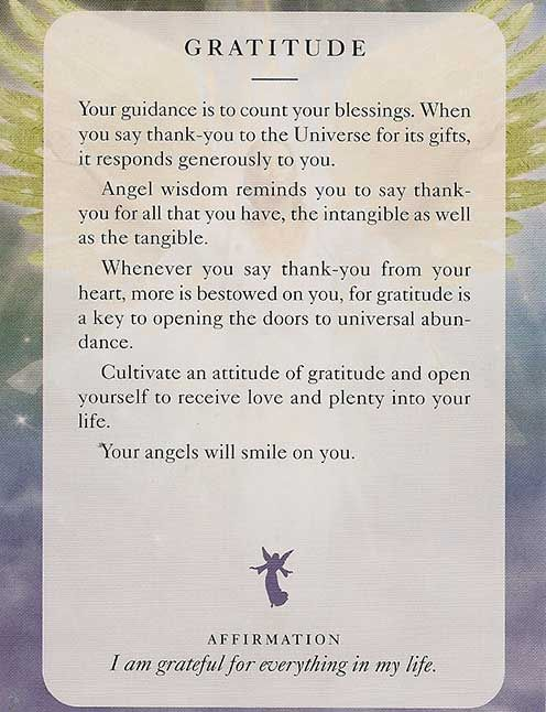 """Gratitude"" – Angel Card – Diana Cooper"