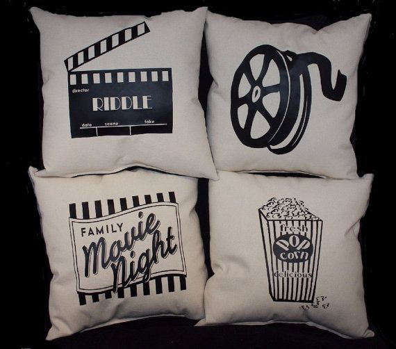 Set of 4 Theater Pillows. This is a complete set stuffed and sewn shut.  YOUR CHOICE OF SIZE: 12 x 12 @ $49.00  14 x 14 @ $64.00 (additional