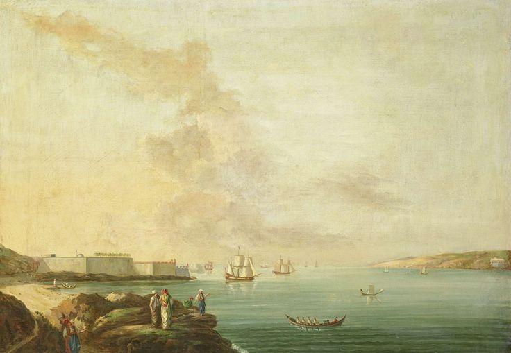 Antoine van der Steen | View of the Dardanelles, Antoine van der Steen, 1770 - 1780 | Gezicht op de Dardanellen, op het water enkele schepen, links wordt vanuit een fort een schot gelost.