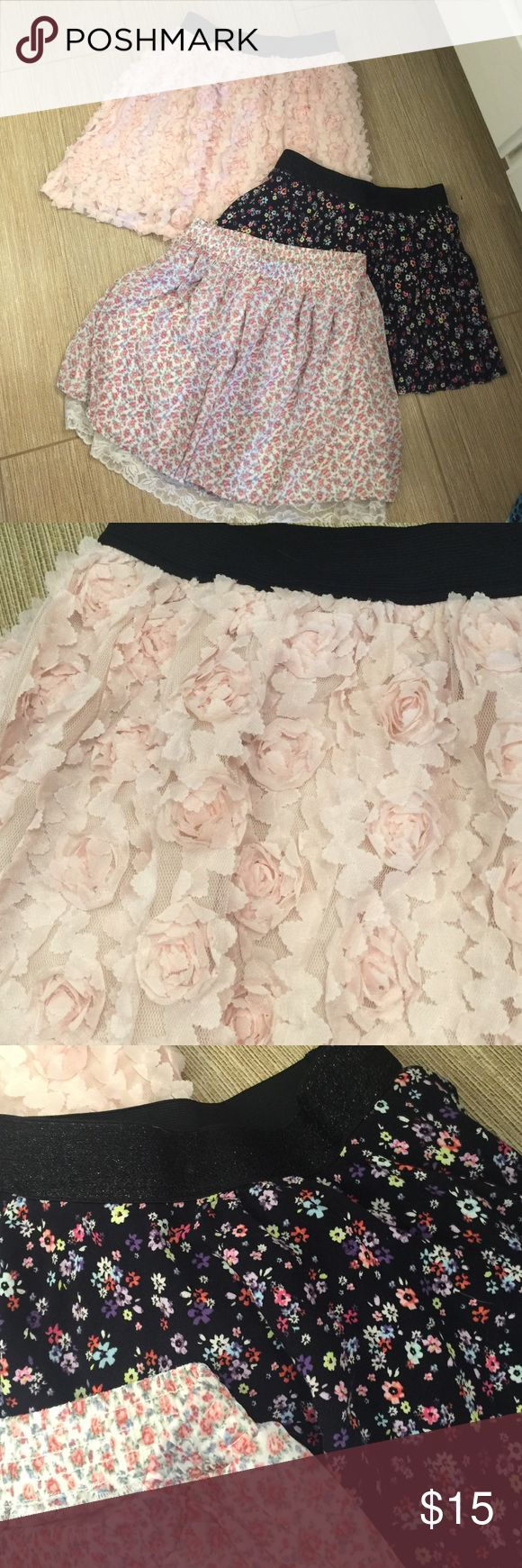 Floral Mini Skirt Bundle Darling romantic Flowy skirts. All in excellent condition. Junior fit x-small. The black skirt is a size 14 girls. Skirts Mini
