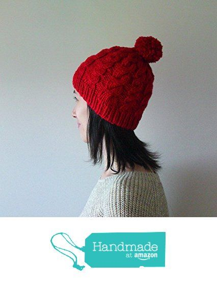 Hand Knitted Cable Chunky Beanie in Carmen Red - Beanie with Pom Pom - Seamless - Wool Blend - Winter Fall - Made to Order from NaryaBoutique https://www.amazon.com/dp/B01LVURH67/ref=hnd_sw_r_pi_dp_fCe7xb002KVMC #handmadeatamazon