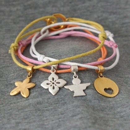 My mum is the angel - bracelet set - thin cords with charms and buckle made of silver 925, covered 18k gold / designed and produced in Poland