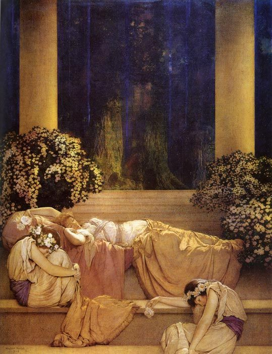 Sleeping Beauty...Maxfield Parrish.  This resides over my bed, as I sleep.