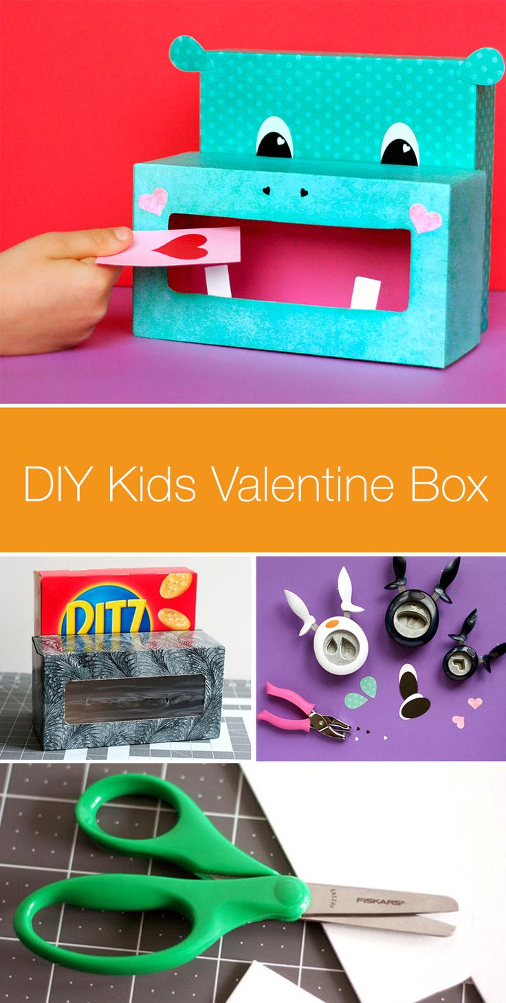 Kids can decorate special valentine boxes for their Valentine's Cards with this hippo-inspired DIY design. Use paper punches and recycled materials to craft a cardholder just for them. They'll be so excited to bring it to school!