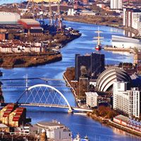Glasgow city centre....the hotel we will be staying at is near the bridge on the right side