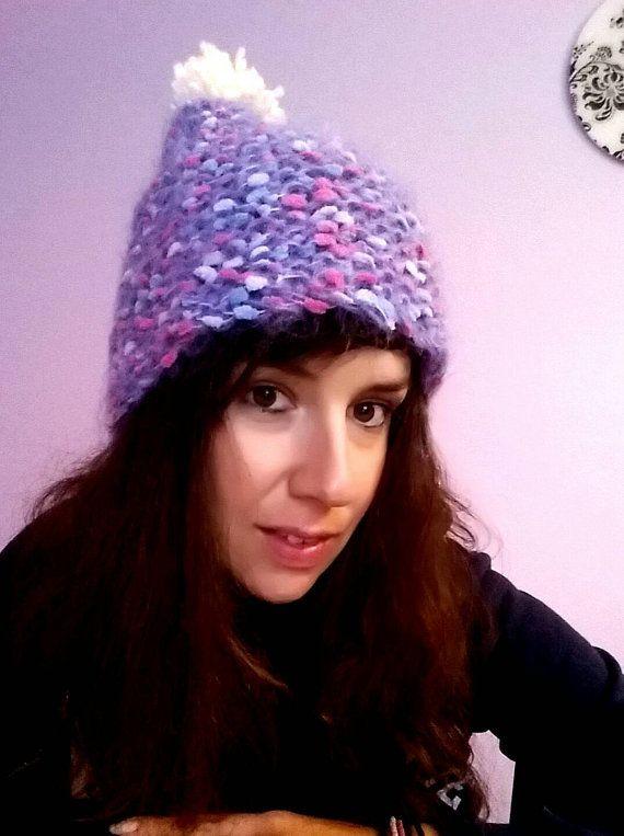 Girly handknitted hat /purple pink /   one by KaterinakiJewelry