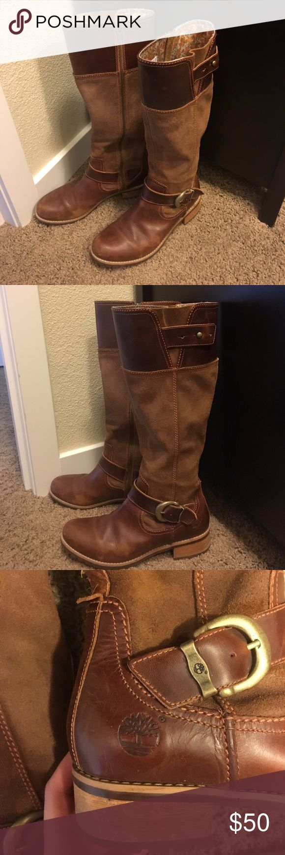 Knee high timberland boots! Brown Leather. Slightly worn. Run a little big! Accepting offers :) Timberland Shoes Combat & Moto Boots