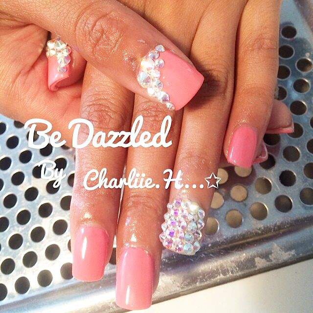 Crystal Gel Nail Video: Coral Gel Nails With Swarovski Crystals