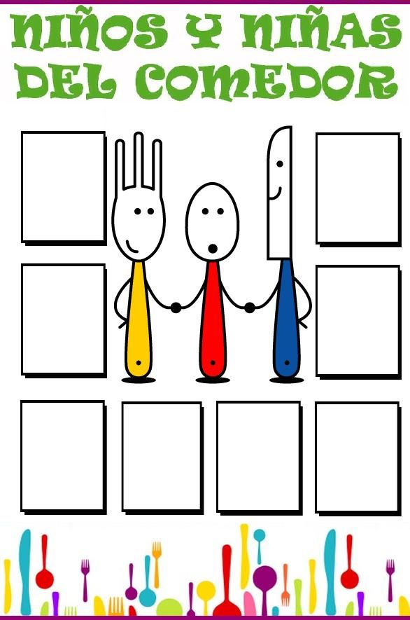 ✿ Carteles de Asistencia al comedor escolar listos para imprimir y usar en tu centro escolar. Sí quieres ver las imágenes en grande haz ...