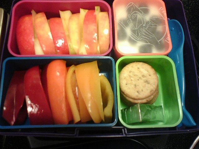 Another bento!  A small pink lady apple, sliced - 50  Vanilla yogurt with blueberries on top - 50  bell pepper in slices - 30  laughing cow cheese wedge, french onion - 35  multigrain crackers - 110  Total: 275Lady Apples, Cheese Wedges, Belle Peppers, Bell Peppers, Vanilla Yogurt, Lunches Ideas, French Onions, Healthy Recipe, Cows Cheese