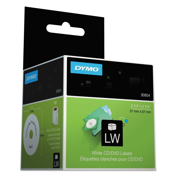 """Dymo LabelWriter CD/DVD Labels, 2 1/4"""" dia, White, 160 Labels/Roll"""