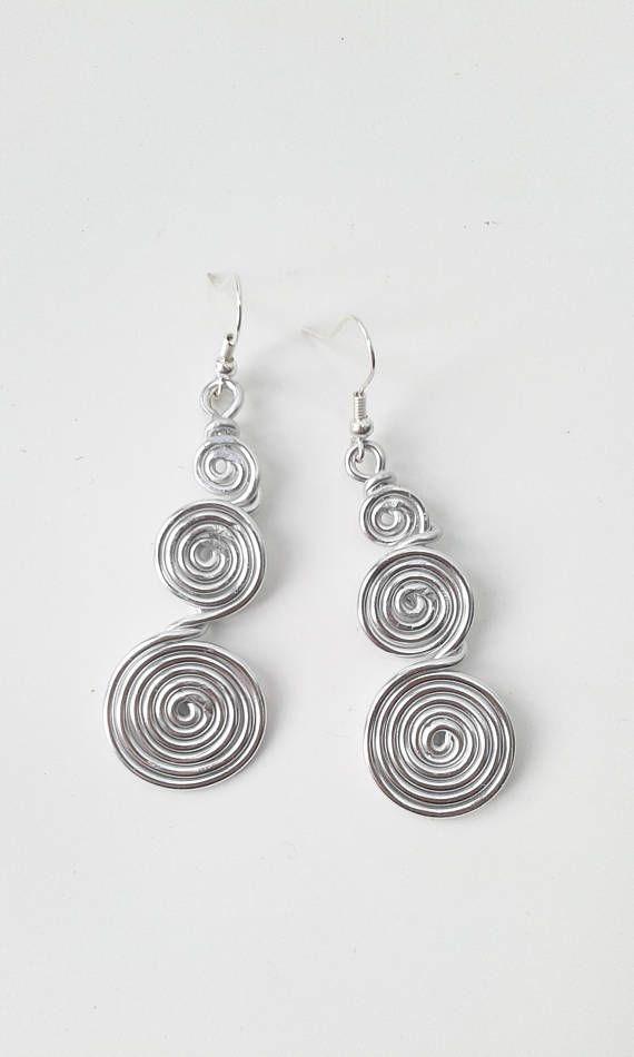 fc56916caafc3f Silver spiral earrings aluminum silver earrings long earrings wire wrapped  earrings art jewelry wire wrapped jewelry aluminum wire earrings