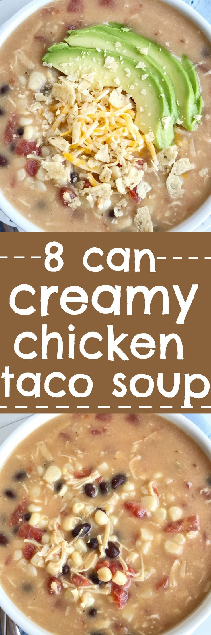 8 can creamy chicken taco soup is a quick dinner recipe that's perfect for those busy back-to-school weeknights. This soup can be on the dinner table in 30 minutes! Shopping at Walmart for great deals on Campbell Soup Company product essentials makes weeknight dinners so much easier | #ad #CampbellsShortcutMeals @Walmart