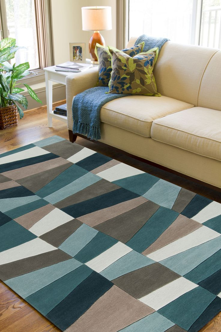 great geometric pattern in teal aqua and gray this rug is part of