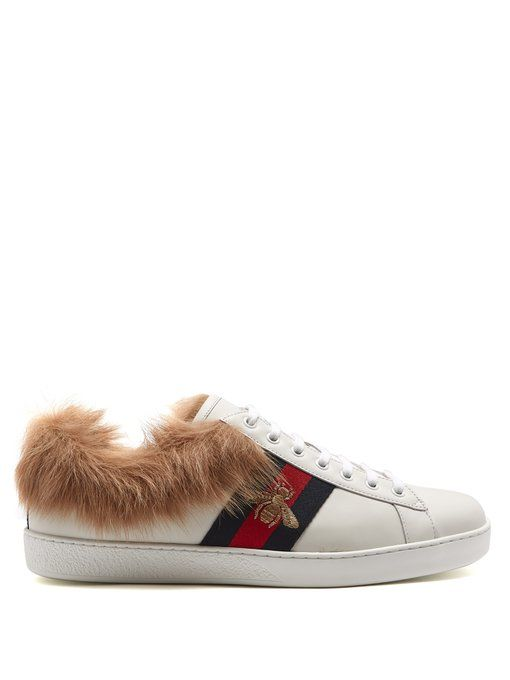804dbfbf9f5 Gucci Ace bee-embroidered wool and leather trainers