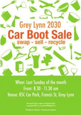 New Grey Lynn 2030 Car Boot Fair.  It is held on the last Sunday of the month in the Grey Lynn RSC car park at 1 Francis Street,. The market is a place  for anyone in who wants to to sell, swap or just give things away that they no longer need.The market is for second hand items only – no new stuff as we think there is already enough stuff on our planet! Our monthly Car Boot Fair is a great local alternative to running your own  garage sale, no advertising necessary (read more...)