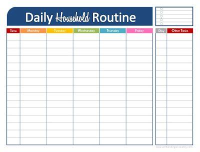 Free Printable: Daily Household Routine   *Editable PDF too!