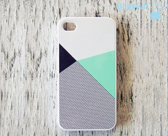 iphone 4 case mint black color block with stripe by BlissfulCASE, apple