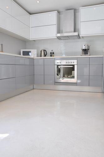 floor & white cupboards