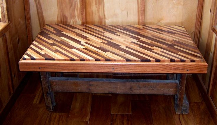 Diagonal table from wood scraps what a cool way to for Reclaimed wood dc