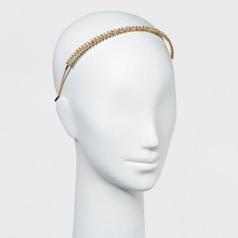 Women's Metal Headband with Leaf Top - Gold