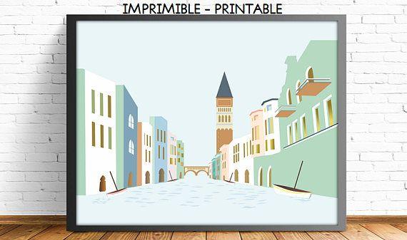 Venice, Italian decor, cityscape, art print, modernist, nursery print, living room, print illustration, wall art deco,4 SIZES INCLUDED