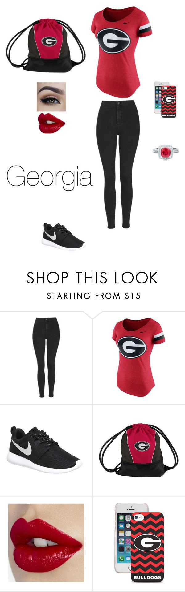"""""""georgia bulldogs"""" by ejjones123 ❤ liked on Polyvore featuring Topshop, NIKE, BERRICLE, women's clothing, women, female, woman, misses and juniors"""