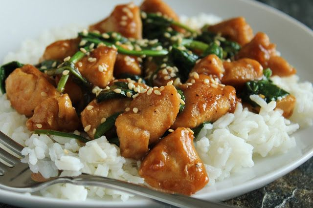 Low FODMAP - Sesame chicken with spinach over rice, low-fructose, gluten-free Was delicious! I added some cornstarch and water at the end to thicken it up a bit more.