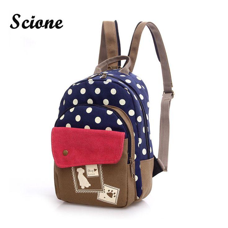 Women Mini Cute Dog Printing Backpack Small Canvas Chest Pack Girls Kawaii Travel Rucksack Vintage