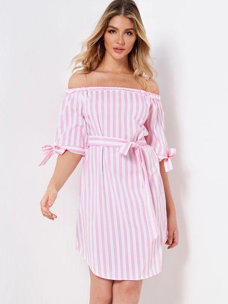 ee80396d060c Pink   White Stripe Off-shoulder Half Sleeves Tie-up Design Dress ...