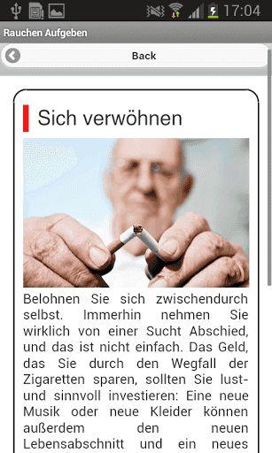 Der Mensch hat Rauchen aufgegeben was mit dem Organismus nach den Tagen geschieht