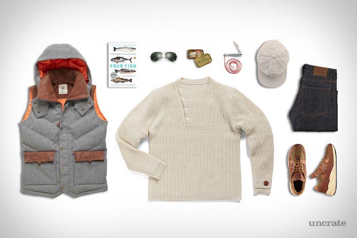 Alps & Meters Alpine Vest ($525). Alps & Meters Classic Waffle Sweater ($250). Alps & Meters Alpine Sports Cap ($60). Raleigh Denim Nash Jeans ($285). Danner x New Balance MiUSA 585 Sneakers ($360). Four Fish: The Future of the Last...