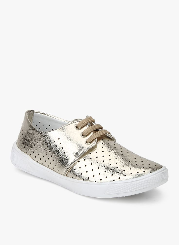 Hoopers Golden Synthetic Lazer Cut Casual Shoes