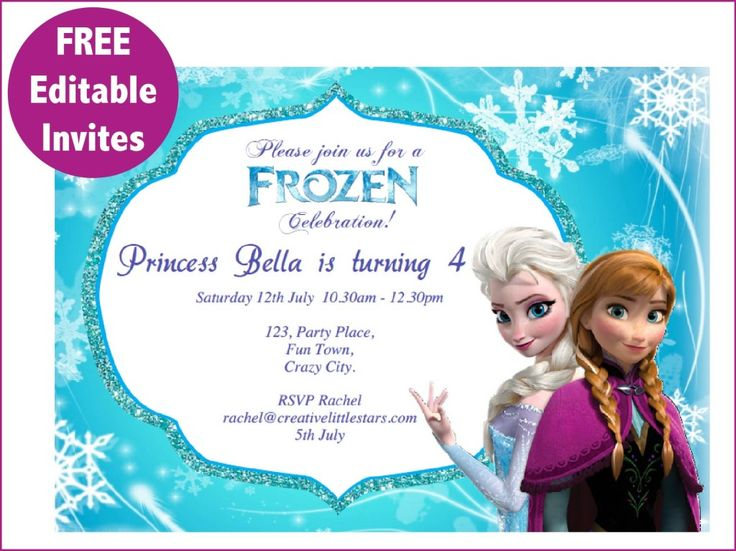 top 25+ best free frozen invitations ideas on pinterest | frozen, Birthday invitations