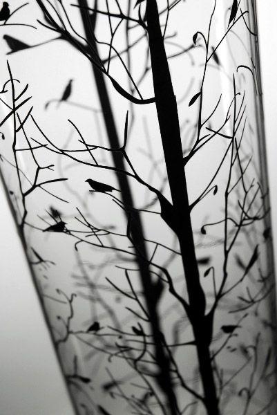 Tree and bird silhouette vase